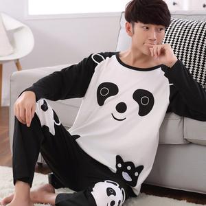春秋季男睡衣長袖純棉卡通薄款男士可愛青少年秋天男式家居服套裝
