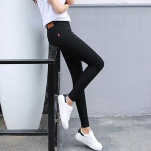 加長版打底褲外穿春秋薄款高腰小腳褲加長大碼女褲子緊身彈力長褲