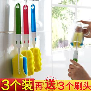 3个装 长柄海绵杯刷玻璃杯清洗刷保温杯涮子奶瓶手柄去污清洁刷子