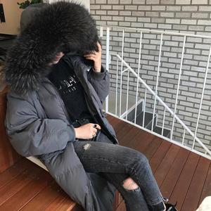 反季超大毛领新款收腰羽绒服女中长款韩版加厚宽松大码过膝冬季潮