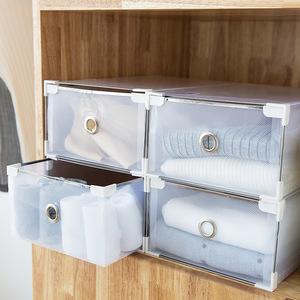 寝室鞋盒透明收纳盒塑料鞋柜抽屉式单个简易床下装鞋子防霉可折叠
