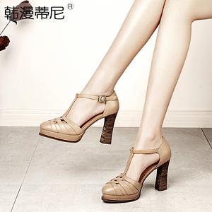 2019春夏新款真皮復古女鞋粗跟高跟鞋防水臺羅馬包頭涼鞋女仙女風