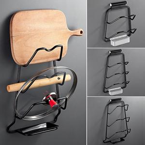 黑色鍋蓋架壁掛式家用太空鋁置物架菜板架子免打孔廚房收納帶接水