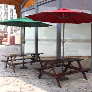 咖啡廳戶外防腐木連體桌椅帶傘公園室外庭院實木休閑桌椅套餐組合