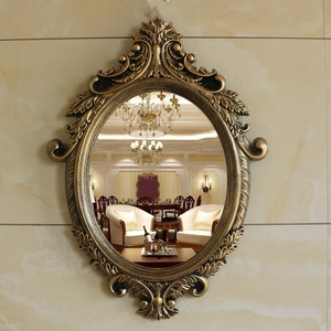 欧式浴室镜子壁挂美式卫生间梳妆台镜美容院化妆镜复古玄关装饰镜