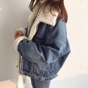 2018冬装新款韩版加绒加厚牛仔棉衣外套女宽松BF风羊羔毛短款棉袄