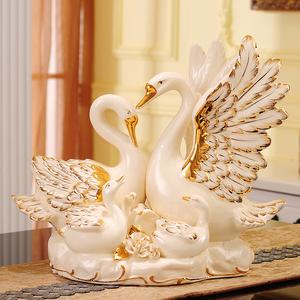 陶瓷天鵝客廳擺件酒柜家居裝飾品 閨蜜新婚結婚禮物創意實用高檔