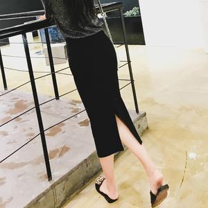 黑色半身裙女秋冬顯瘦2019新款中長款高腰長裙開叉一步包臀裙子春