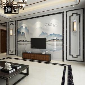 客厅微晶石电视背景墙瓷砖新中式大理石石材护墙板实木花格装饰框