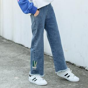 中大童女童阔腿牛仔裤弹力软春秋儿童宽松长裤洋气女孩裤子15岁12