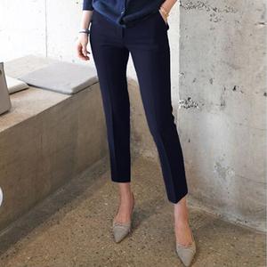 小諾黑色西裝褲女夏季職業工作直筒正裝褲子九分小腳顯瘦煙管褲薄