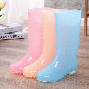女士時尚果凍色雨鞋高筒防滑防水秋冬膠鞋加棉保暖無內里糖果水鞋