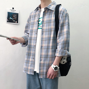 春?#30007;?#27454;格子长袖衬衫男宽松ins潮流韩版衬衣男士港风情侣外套