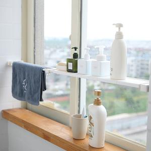 窗臺可伸縮隔板廚房夾縫收納伸縮桿置物架分層架浴室收納架隔層板