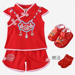 漢服女童嬰兒古裝抓周禮服夏裝0-1歲夏天衣服一周歲女寶寶唐裝2半