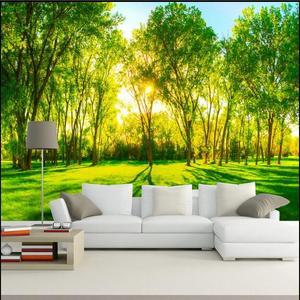 田园树林风景客厅电视背景墙纸壁画5d卧室餐厅绿色森林壁纸3d墙布