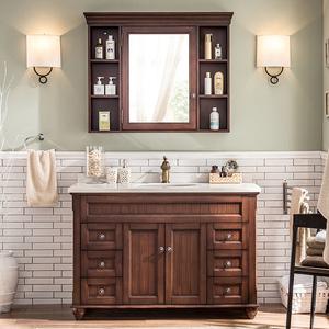 卫浴欧式美式橡木浴室柜组合落地洗脸盆池洗手台?#30340;鞠词?#21488;卫生间