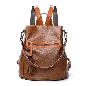 雙肩包女韓版新款休閑兩用軟皮百搭簡約時尚背包防盜大容量潮書包