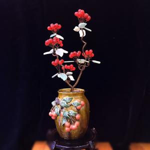 招财进宝发财树 玉髓圆珠招财树 水晶球饰品摆件陶瓷花瓶水晶摆饰