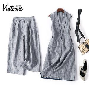 春夏新款秋季女套裝條紋中長款亞麻西裝馬甲時尚九分闊腿褲兩件套
