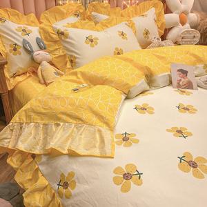 小清新純棉床上四件套100全棉ins公主風床品床單三件套網紅款被套