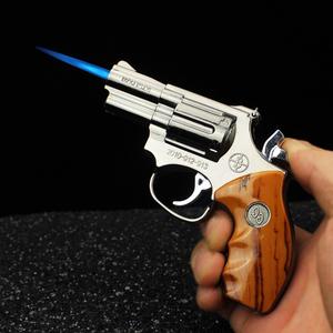 枪式打火机全金属防风充气创意电子电影拍摄道具金属枪式仿真模型