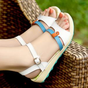 夏天仙女风女孩初中学生12平底大童防滑15岁夏季百搭真皮凉鞋软底