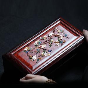 印度小葉紫檀百寶嵌喜鵲登梅機關盒多寶盒首飾收納盒文玩工藝擺件