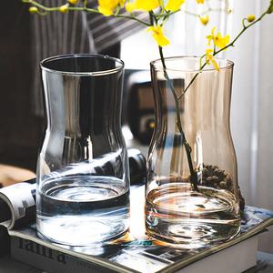 北欧创意ins风透明玻璃小花瓶水培干鲜花插花装饰品客厅家用摆件