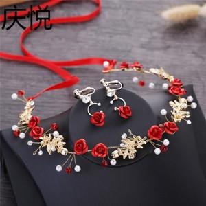鑲嵌新娘頭飾紅色新婚串珠發型禮服飾品氣質婚禮公主婚慶裝飾晚宴