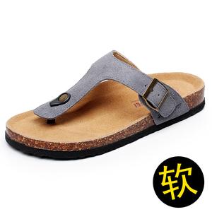 夏季人字拖男士室外涼拖鞋時尚潮流軟木拖鞋女夾腳外穿大碼拖鞋