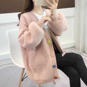 很仙的毛衣女慵懒风春装2019韩版新款宽松针织开衫女装加厚外套女