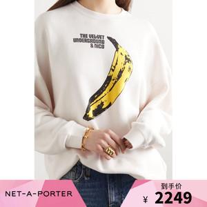 [首降]R13 女米白色寬松印花棉質長袖套頭衛衣NAP/NET-A-PORTER