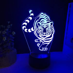 新奇特十二生肖3D老虎小夜灯LED七彩视觉灯触控创意礼品氛围台灯