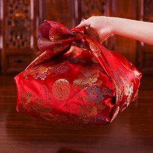結婚嫁妝打包捆被子包裹包新婚中式緞面紅布包傳統龍鳳紅色大號
