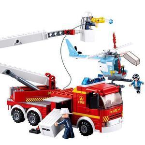 救火英雄系列男孩兒童益智拼裝玩具登高平台消防車6歲以上