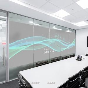 北欧风格灰色企业公司办公室玻璃贴纸窗户玻璃移门几何线条logo