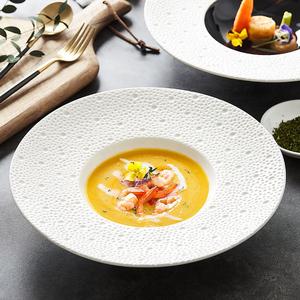 非洲之夜北欧西餐厅摆盘创意陶瓷草帽盘简约意境菜深汤盘沙拉盘子