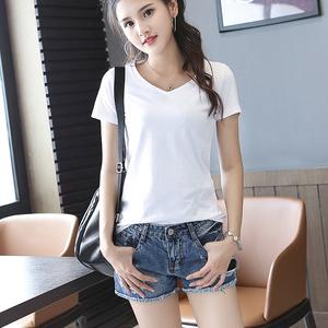 夏季短袖白色V领T恤女宽松简约纯色打底衫纯棉学生韩版上衣半袖潮