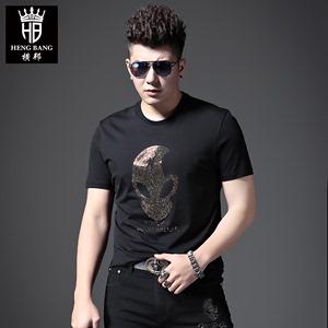歐洲站潮牌男裝圓領短袖T恤夏季修身燙鉆街頭ins風半袖體恤男個性