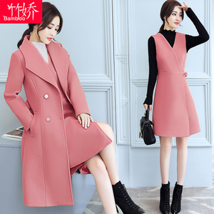 韩版潮中长款外套背心裙