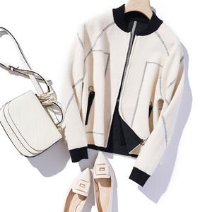 19秋冬針織開衫蝙蝠廓形雙面拼色夾克棒球服短外套拉鏈上衣毛衣女