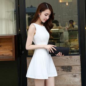 氣質小黑裙2020夏季新款修身顯瘦小個子無袖背心短裙雪紡連衣裙女