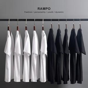日本重磅厚實純棉面料短袖T恤男女通款全棉圓領打底衫潮白色半袖