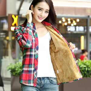 純棉格子保暖加絨襯衫女長袖秋冬外套打底寸韓版加厚襯衣大碼女裝