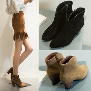秋冬真皮粗跟磨砂皮尖頭短靴女歐美中跟英倫馬丁靴及踝靴及裸靴潮