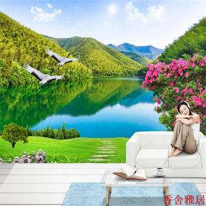 電視背景壁畫客廳沙發墻紙自然山水風景畫壁紙田園墻布草地3d墻畫