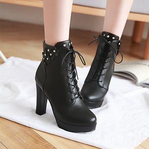 前系带侧拉链马丁靴女短靴2019秋冬季新款女士高跟女靴子粗跟女鞋