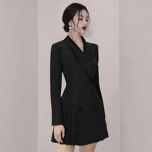早秋法式名媛OL气质小礼服黑色修身V领长袖百褶裙短款西装连衣裙