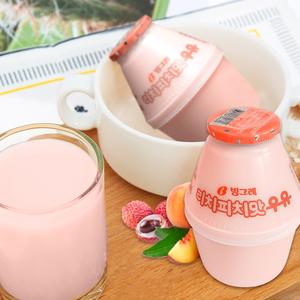 韩国进口儿童牛奶饮料 宾格瑞荔枝蜜桃味牛奶 坛子奶 238ml*4支